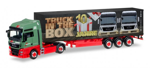 "HERPA 306089 MAN TGX XXL Euro 6 Container-Sattelzug ""Wandt / 10 Jahre Truck in the box"""