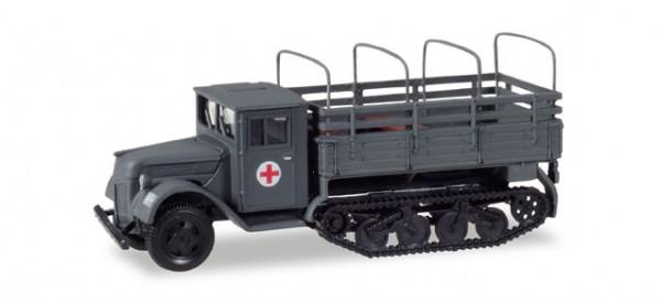 """HERPA 746236 Ford 987 Ersatz Maultier mit Pritsche und Spriegel """"Sanitätsfahrzeug Wehrmacht / Ostfr"""