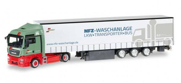 "HERPA 306904 MAN TGX XLX Euro 6c Gardinenplanen-Sattelzug ""Wandt Waschpark"""