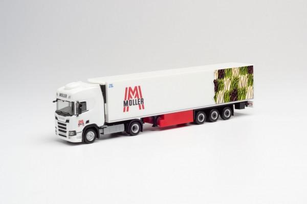 "HERPA 941709 Scania CR 20 HD Kühlkoffer-Sattelzug ""Müller / Spargel"""