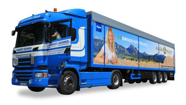 "HERPA 925372 Scania R'13 HL Schubboden-Sattelzug ""Hubert Schmid"""