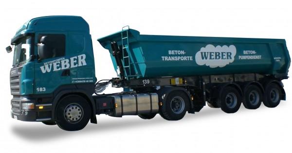 HERPA 936682 Scania R 09 HL Rundmulden-Sattelzug Betonpumpen Weber