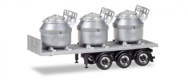 HERPA 076838 Auflieger mit 3 Aluminiumtiegeln, silber