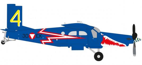"HERPA 580274 Austrian Air Force Pilatus PC-6 Turbo Porter - 4. Flächenstaffel, ""Blaue Elise"" - 3G-E"