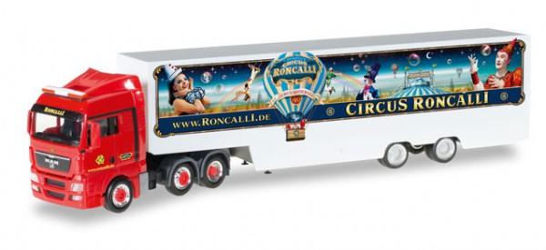 "HERPA 306744 MAN TGX XLX Koffer-Sattelzug ""Circus Roncalli"""