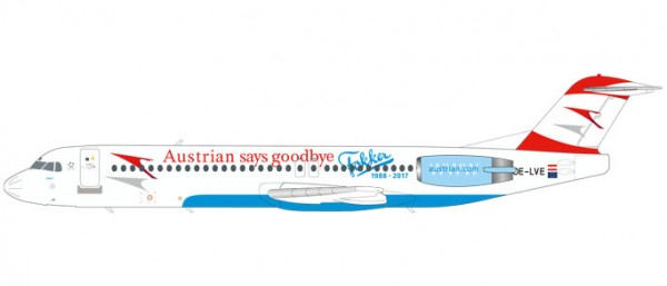 """HERPA 559027 Austrian Airlines Fokker 100 """"Goodbye Fokker"""" - OE-LVE """"Zagreb"""""""
