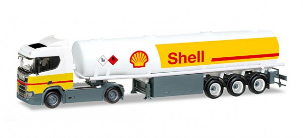 "HERPA 307611 Scania CR 20 ND Benzintank-Sattelzug ""Shell"""