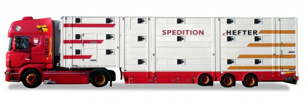 "HERPA 923392 Scania R'09 TL Viehtransporter ""Hefter"""