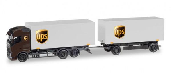 """HERPA 308823 Volvo FH Gl. Wechselkoffer-Hängerzug """"UPS"""""""