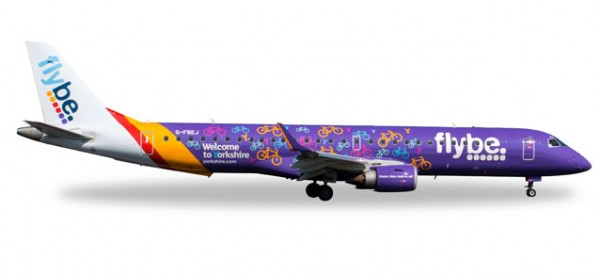 "HERPA 558297 FlyBe Embraer E195 ""Welcome to Yorkshire"""