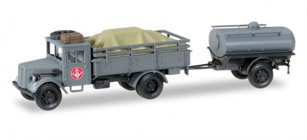 """HERPA 745628 Opel 3000 mit Ladegut und Tankanhänger Wassertransporter """"Fernmeldekompanie JG 1"""""""