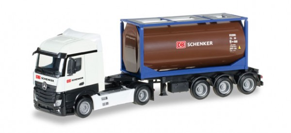 "HERPA 306911 Mercedes-Benz Actros Streamspace 2.5 Tankcontainer-Sattelzug ""DB Schenker"""