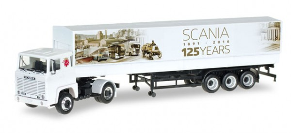 "HERPA 306430 Scania 141 Planen-Sattelzug ""125 Jahre Scania"""