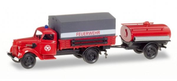 """HERPA 307956 Ford V 3000 Planen-LKW mit Tankanhänger """"Feuerwehr"""""""