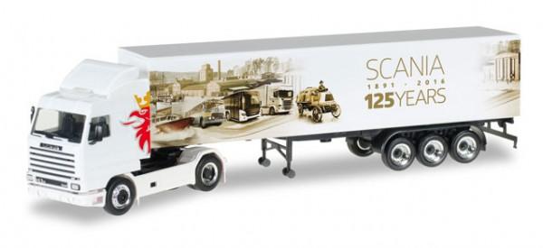 "HERPA 306447 Scania 143 SL Koffer-Sattelzug ""125 Jahre Scania"""
