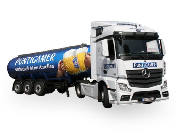 """HERPA 927680 Mercedes-Benz Actros Streamspace Tank-Sattelzug """"Puntigamer Bier"""""""