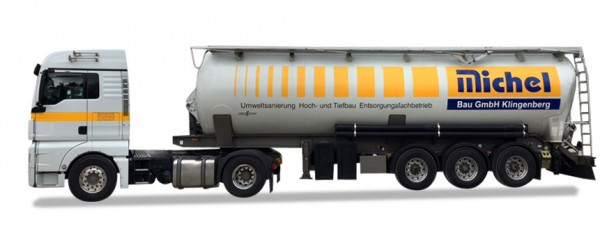 "HERPA 929127 MAN TGX XLX Silo-Sattelzug ""Michelbau"" (Bayern)"