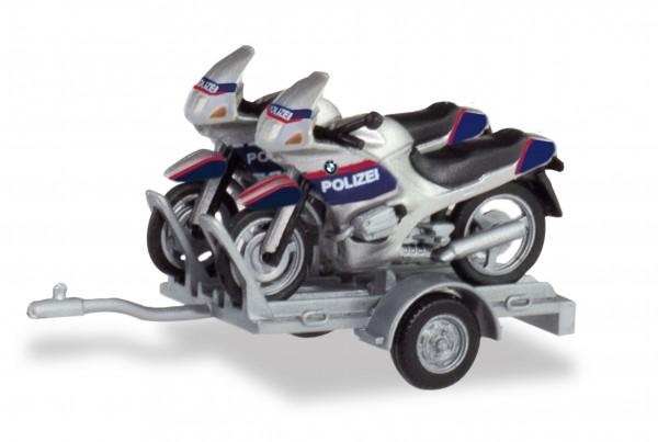 """HERPA 940030 Set Anhänger mit 2 x BMW Motorrad """"Polizei Österreich"""""""