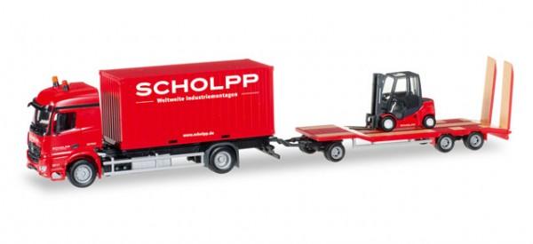 """HERPA 306232 Mercedes-Benz Arocs Container-LKW mit TU3 und Gabelstapler """"Scholpp"""""""
