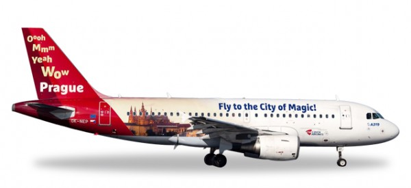 "HERPA 558075 CSA Czech Airlines Airbus A319 ""Prague - City of Magic"""