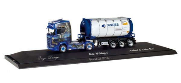 "HERPA 121811 Scania CS 20 HD Tankcontainer-Sattelzug ""Ingo Dinges"""