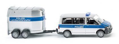 Wiking 030807 Polizei - VW T5 GP Multivan mit Pferdeanhänger