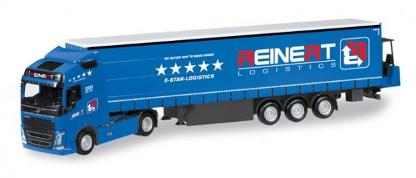 """HERPA 308465 Volvo FH Gl. Gardinenplanen-Sattelzug mit Stapler """"Reinert Logistics"""""""