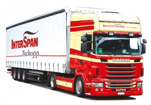 "HERPA 925426 Scania R'09 TL Gardinenplanen-Lowliner-Sattelzug ""Interspan-Tschopp"""