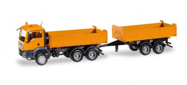 HERPA 308090 MAN TGS M Euro 6c Baukipper-Tandem-Hängerzug