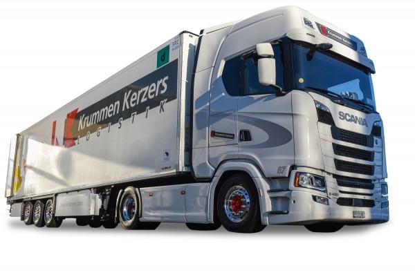 "HERPA 942003 Scania CS 20 HD Kühlkoffer-Sattelzug ""Krummen Kerzers"""