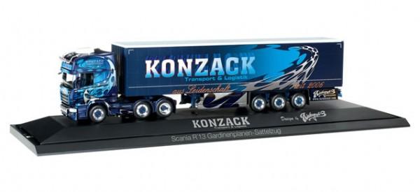 """HERPA 121750 Scania R `13 TL Gardinenplanen-Sattelzug """"Konzack"""""""