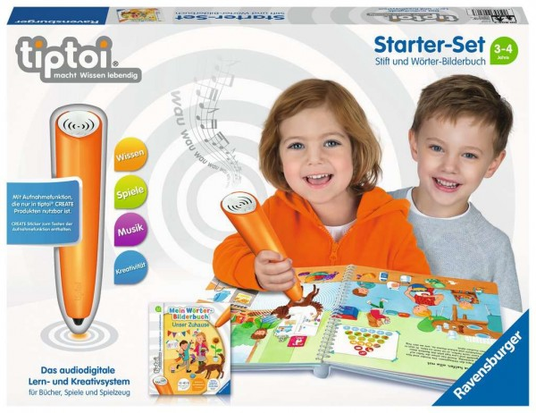 RAVENSBURGER 00806 Starter Set Stift und Wörter-Bilderbuch - Lernsystem für Kinder ab 3 Jahren