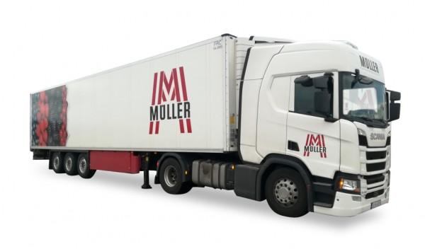 HERPA 931885 Scania CR HD Kühlkoffer-Sattelzug Müller Transporte