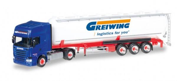 """HERPA 306195 Scania R TL ADR-Silo-Sattelzug """"Greiwing"""""""