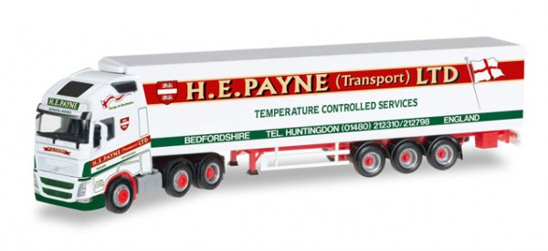 "HERPA 306164 Volvo FH Gl. XL 6x2 Kühlkoffer-Hängerzug ""H.E.Payne"" (GB)"