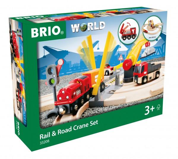 BRIO 33208 BRIO Straßen und Schienen Kran - Set